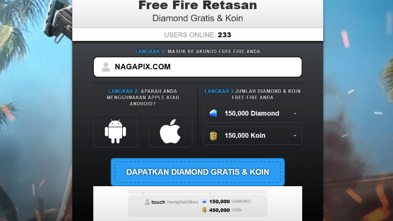 Ffid Xyz Free Fire Retasan Diamond & Coins FF Gratis !